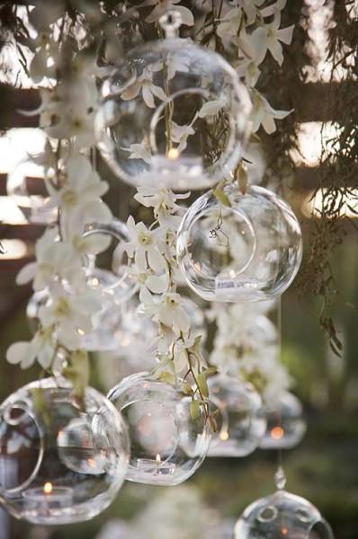 Dekor hängenden Glaskugel Teelicht- und Blumenhalter