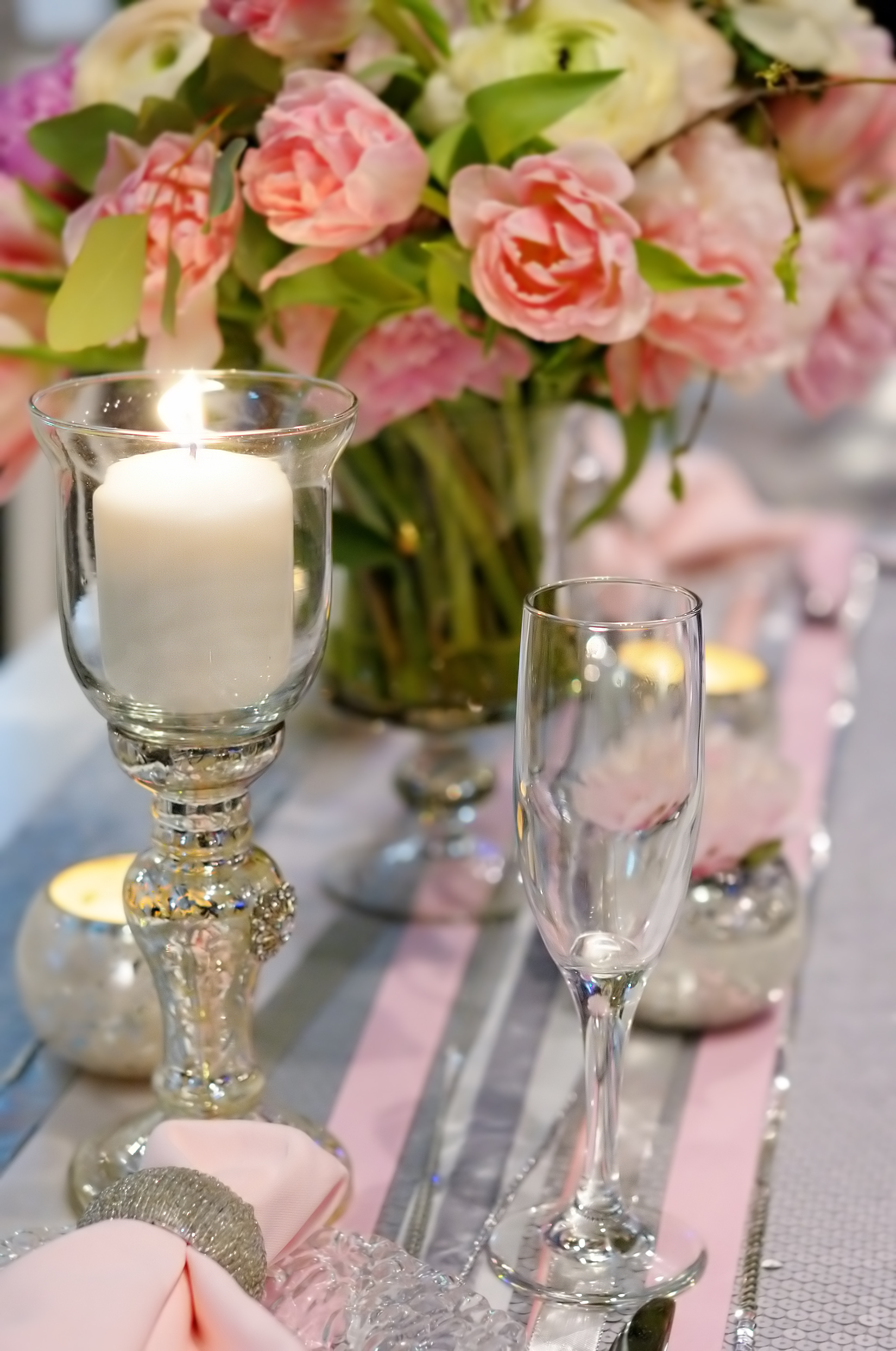 TischdekorationSilber_Rose